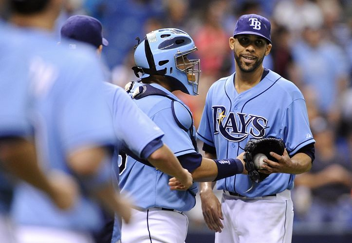 David Price with Jose Molina, throws the first complete game of the year for the Rays, doing so in fewer than 100 pitches. (Photo courtesy of Associated Press)