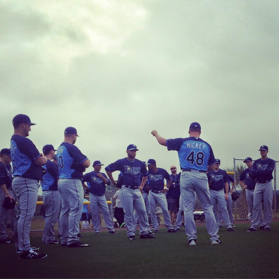 Jim Hickey works with the pitchers after a rain delay in Port Charlotte, Thursday. (Photo courtesy of the Tampa Bay Rays)