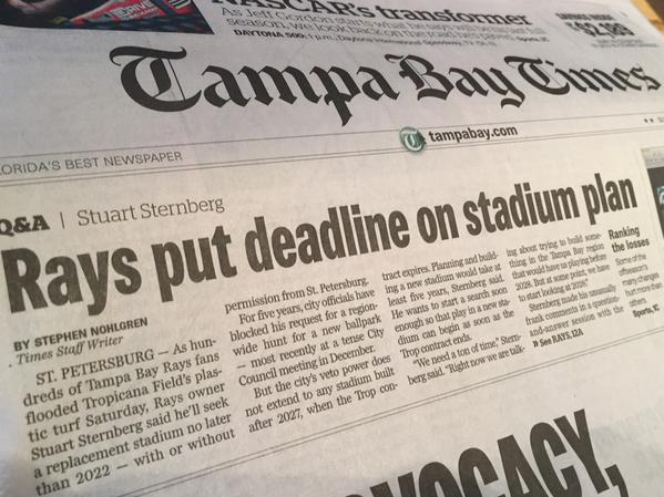 Sunday's front page headline from the Tampa Bay Times. (Photo courtesy of Noah Pransky)
