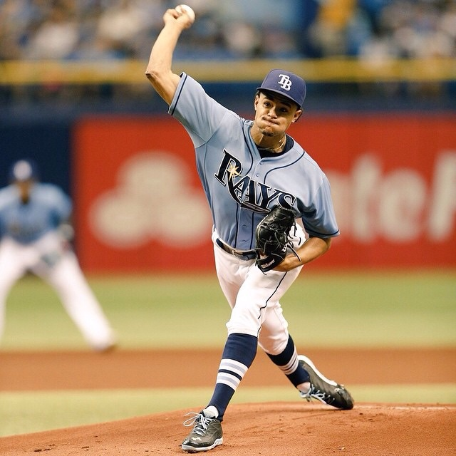 Chris Archer extended his earned run-less streak to 26-2/3 innings with seven innings of shutout ball on Sunday. (Photo credit: the Tampa Bay Rays)