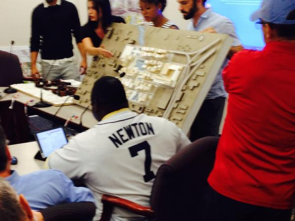 It wouldn't be a stadium workshop without Wengay Newton's personalized Rays jersey.
