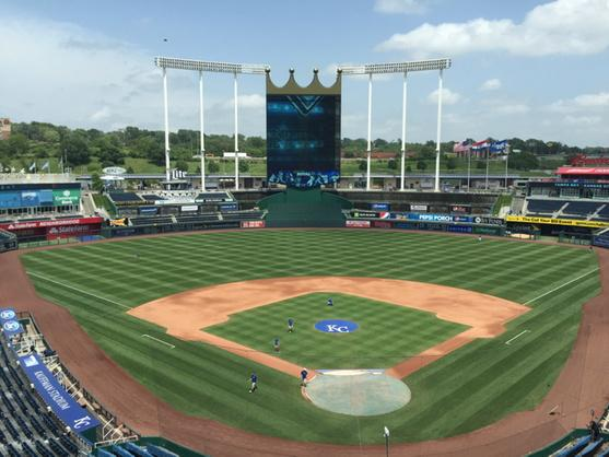 The scene at Kauffman Stadium — things look good... for now