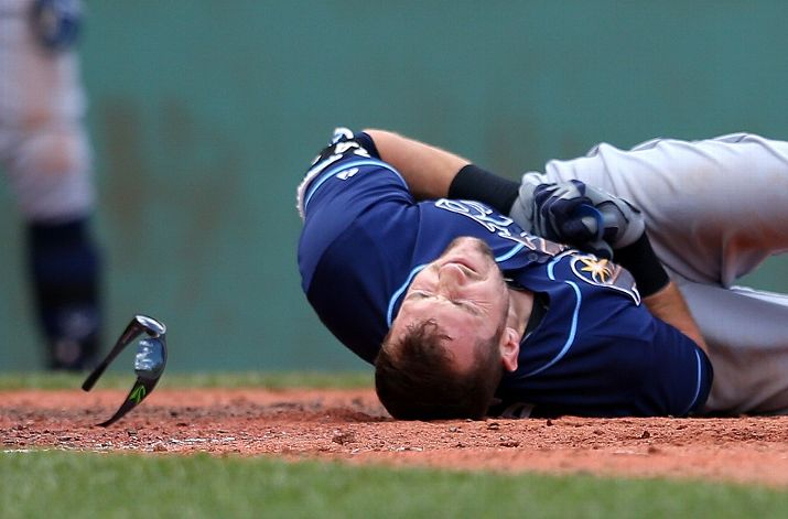 Steven Souza Jr. falls to the ground after he was hit by a pitch in the fifth inning against the Boston Red Sox. (Photo by Jim Rogash/Getty Images)