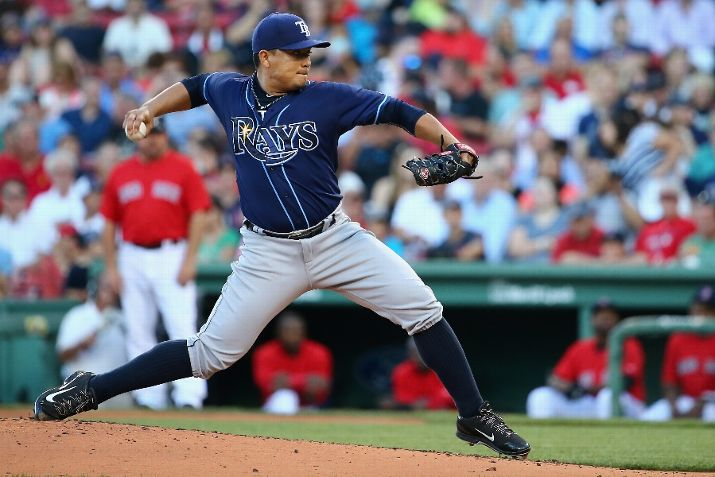Erasmo Ramirez pitches during the first inning on July 31, 2015. (Photo Credit: Maddie Meyer/Getty Images)