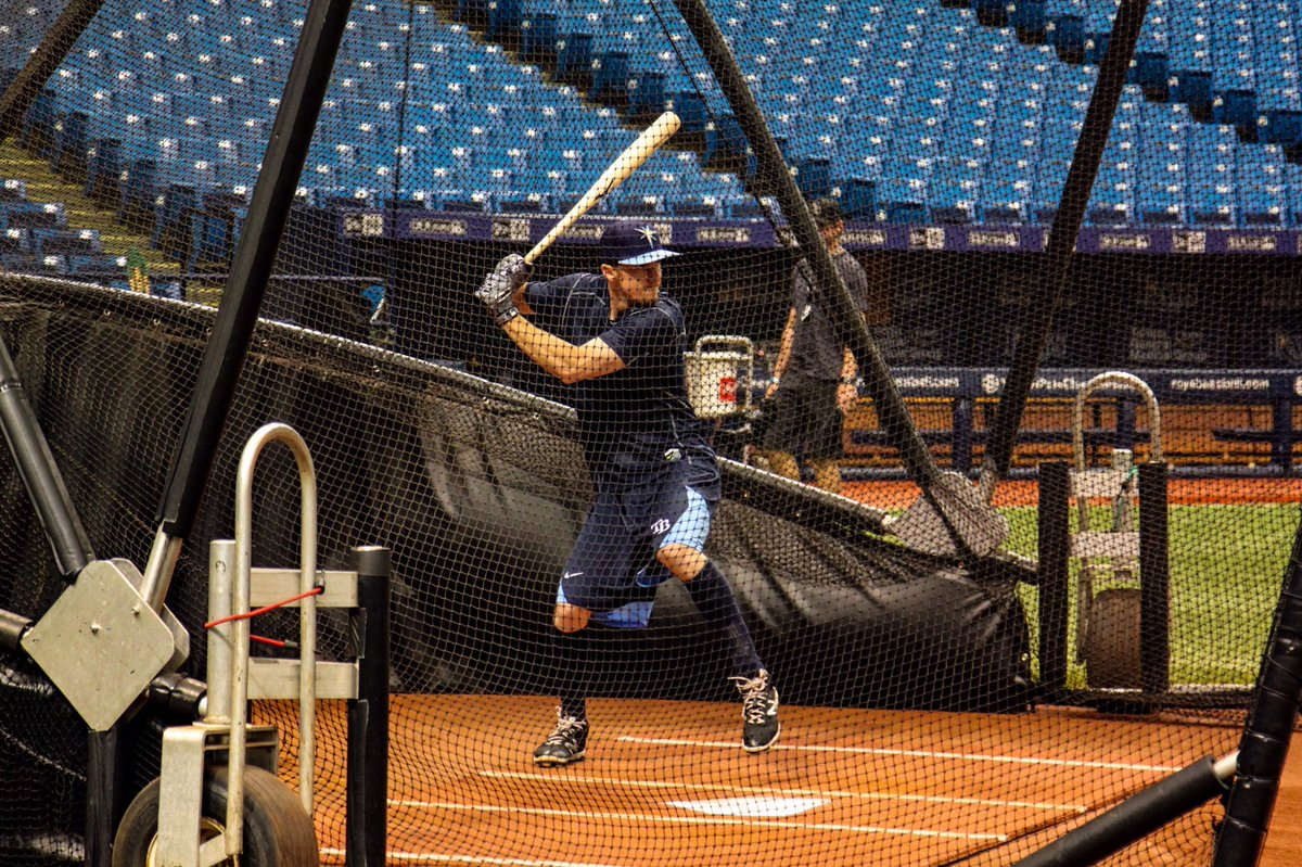 Matt Duffy, photographed taking batting practice at the Trop, will make his debut with the Rays on Friday in New York. (Photo Credit: Tampa Bay Rays)